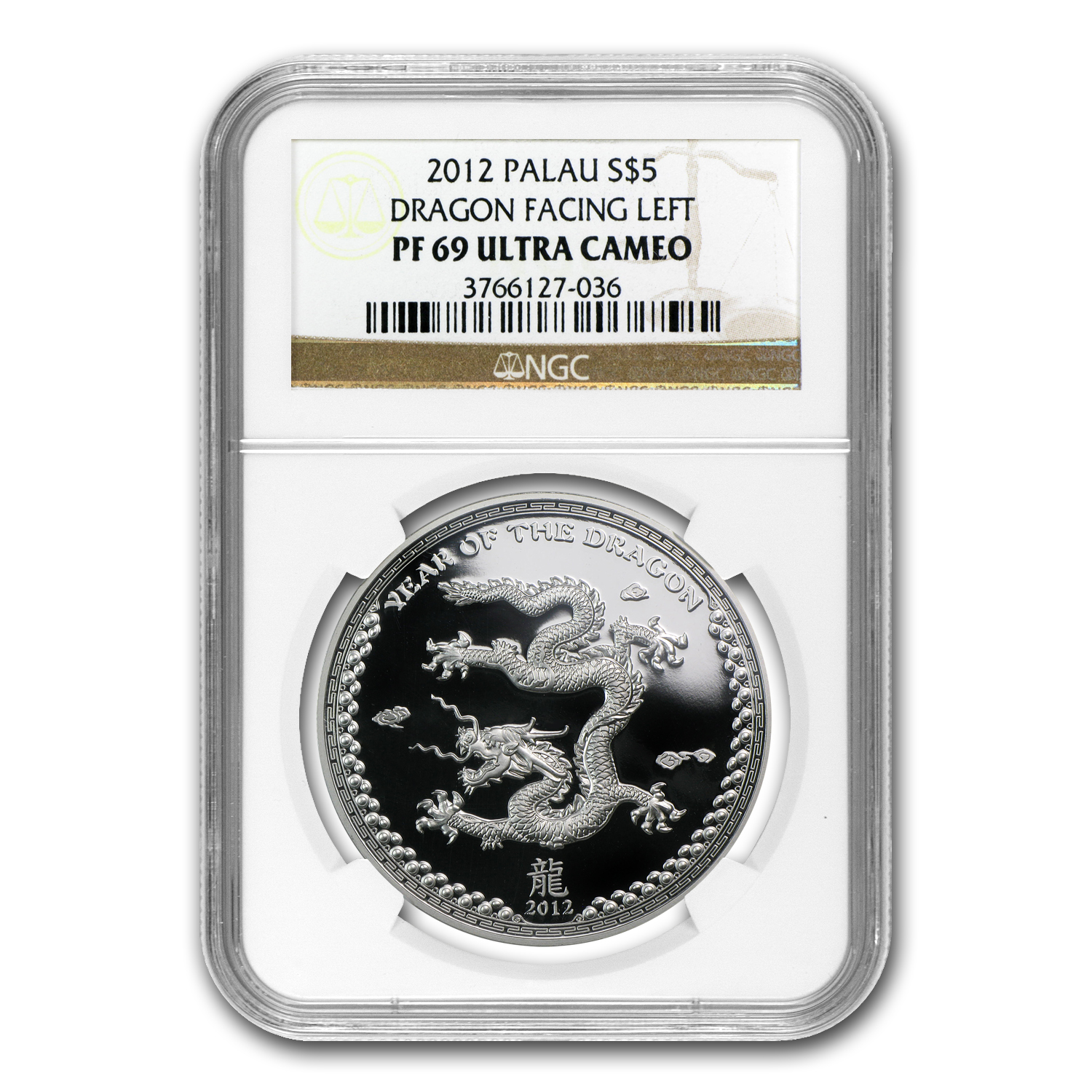2012 Palau $5 Silver Year of the Dragon PF-69 NGC